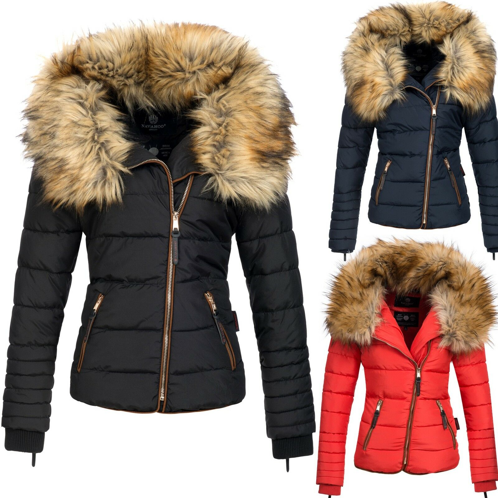 navahoo azu damen winter jacke parka steppjacke gro er. Black Bedroom Furniture Sets. Home Design Ideas