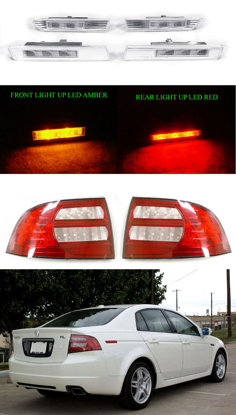 DEPO COMBO LED Clear Side Marker RedClear Tail Lights For - Acura tl taillights