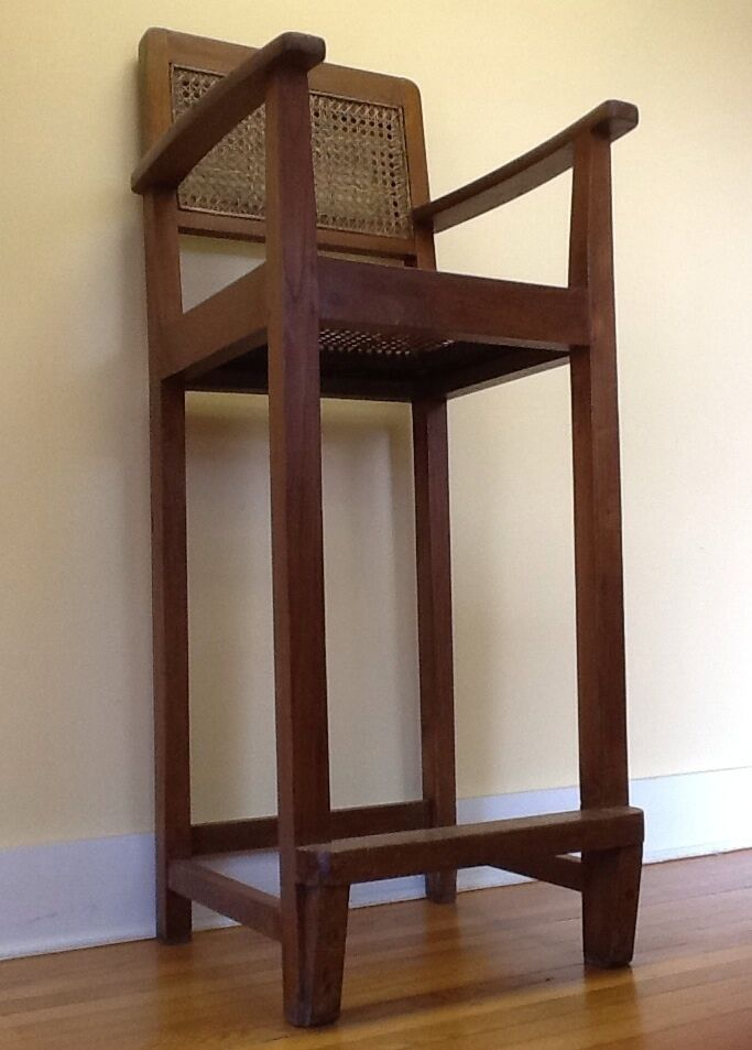 "Vintage Arts & Crafts Oak/Wicker Pool Hall/Director Chair, 51"" tall c. 1930"