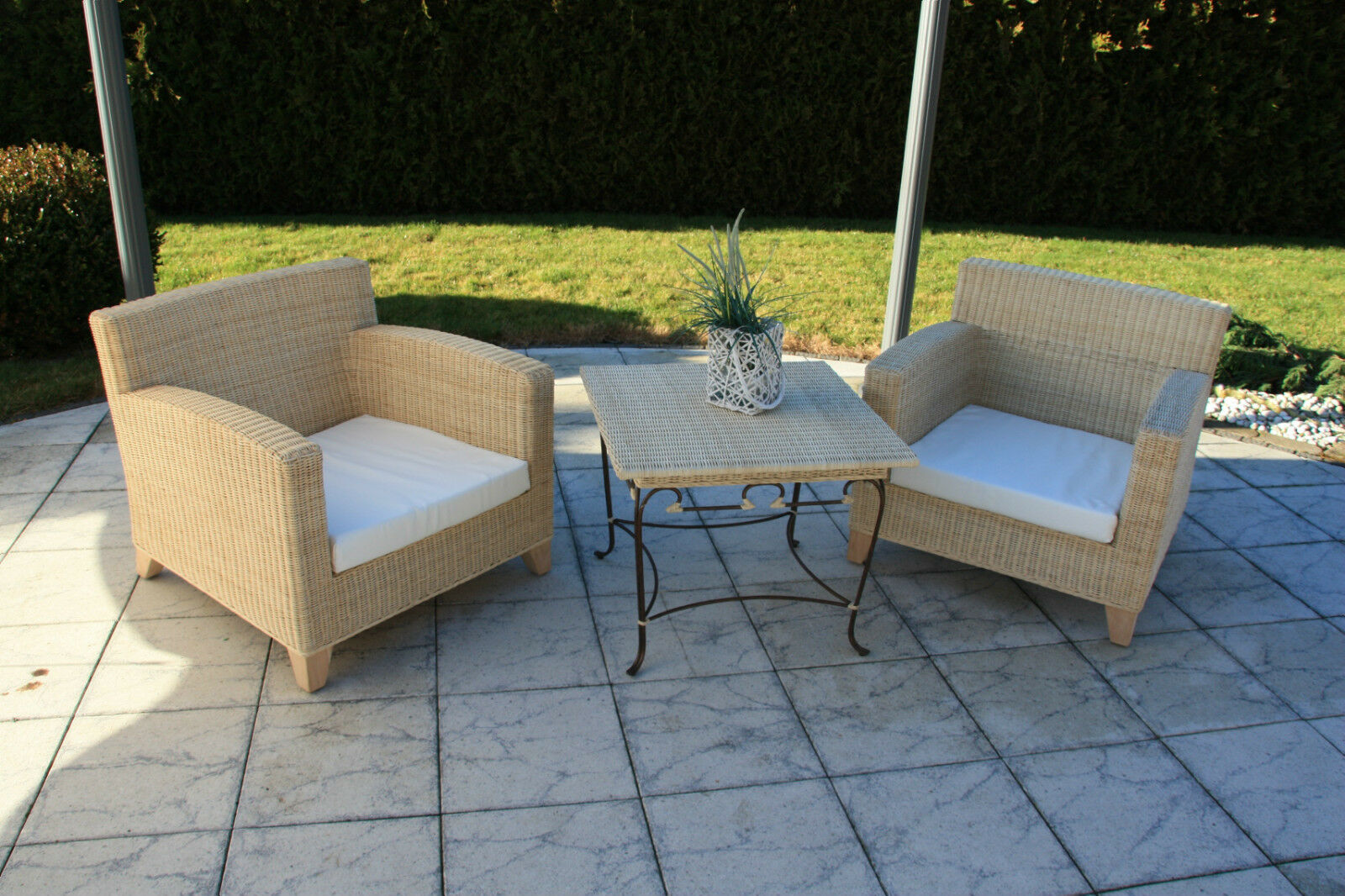 echt rattan sitzgruppe tisch mit 2 sessel eur 329 00 picclick de. Black Bedroom Furniture Sets. Home Design Ideas