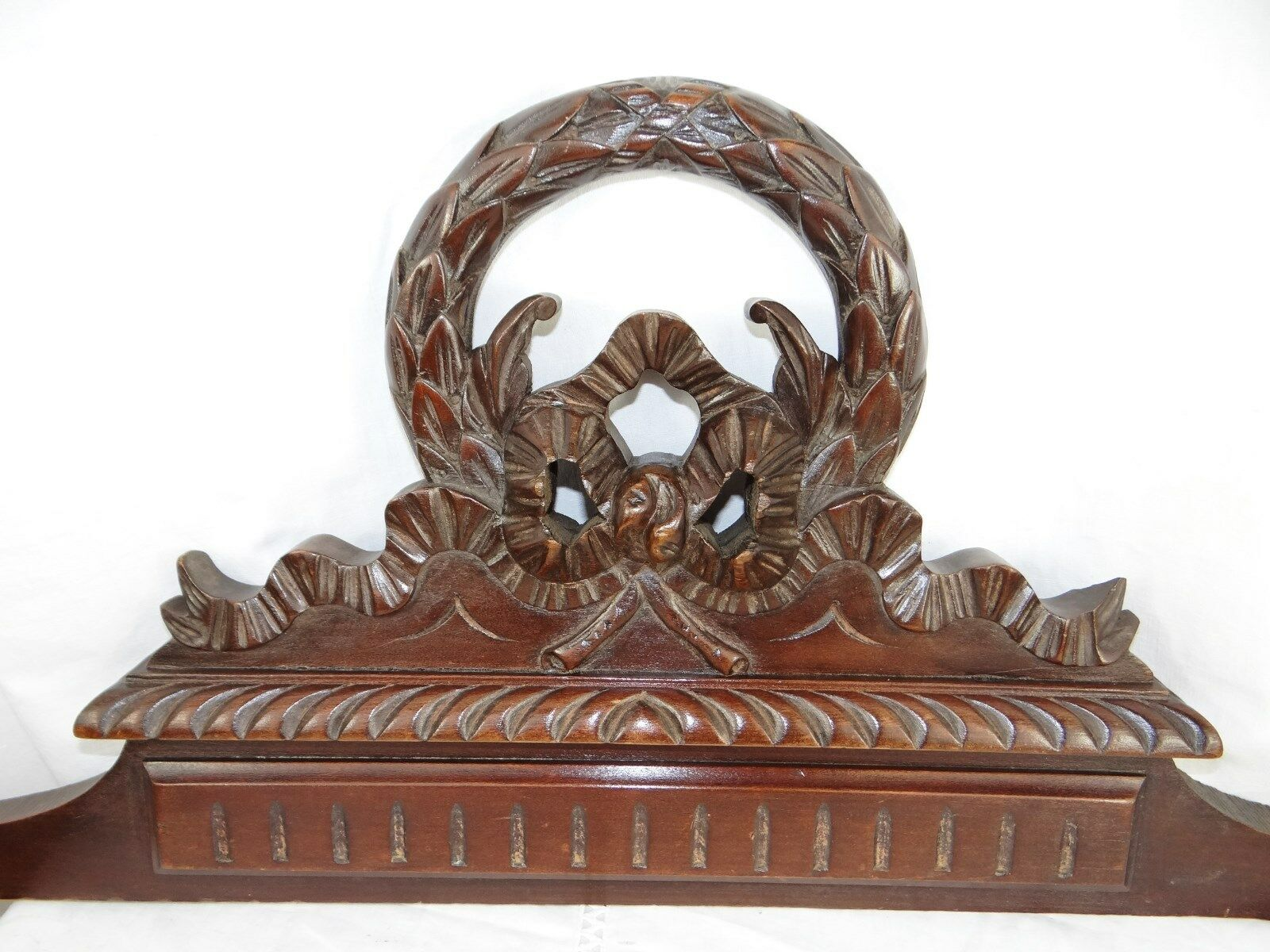 """""""33"""" French Antiquity Pediment architectural Crown Mahogany Wood Crest - Ribbon"""