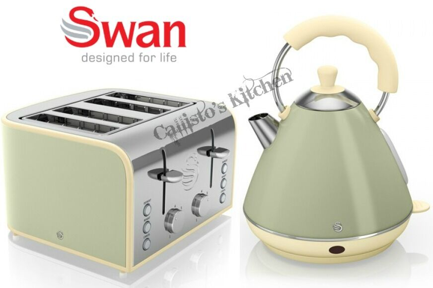 Swan kettle and toaster set 4 slice green toaster retro for Kitchen set kettle toaster