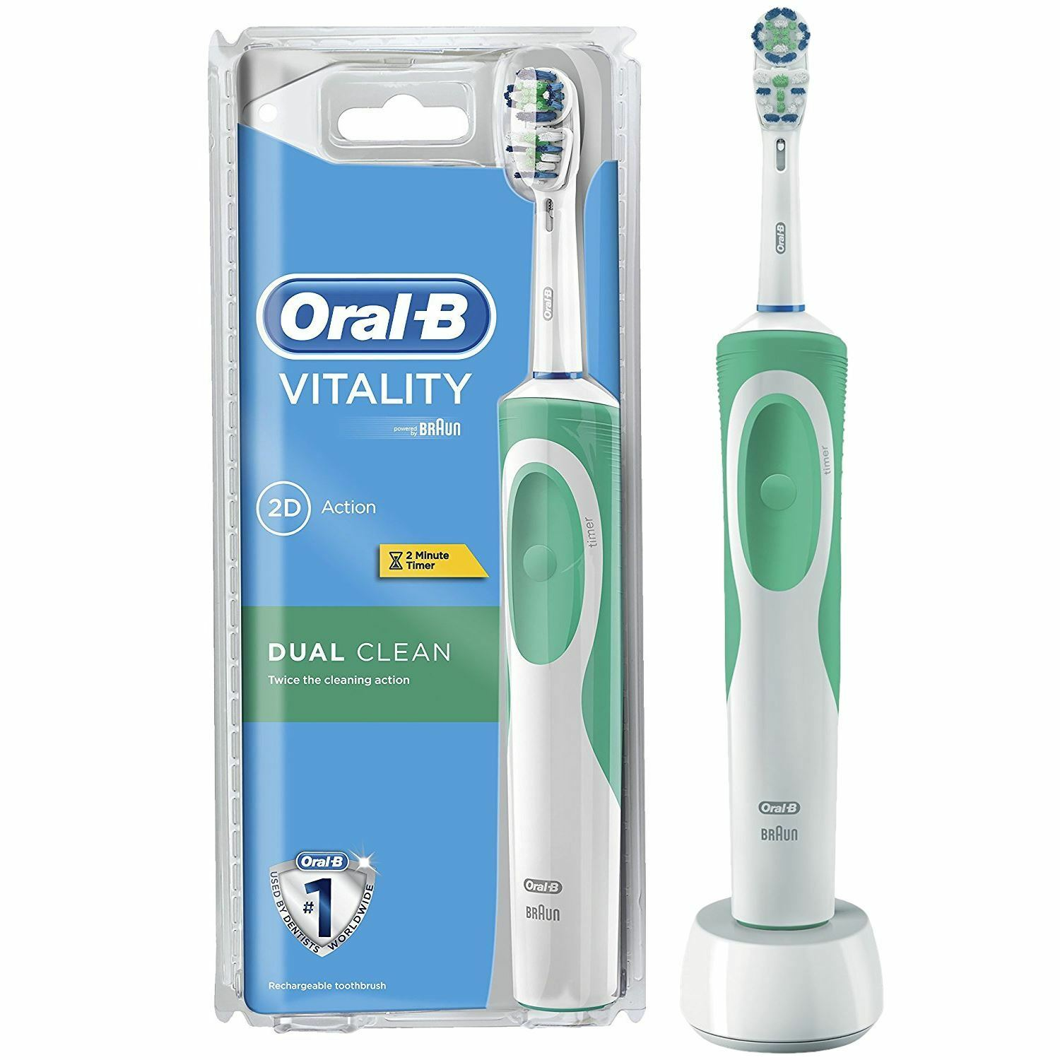 oral b braun vitality dual clean electric rechargeable power toothbrush timer. Black Bedroom Furniture Sets. Home Design Ideas