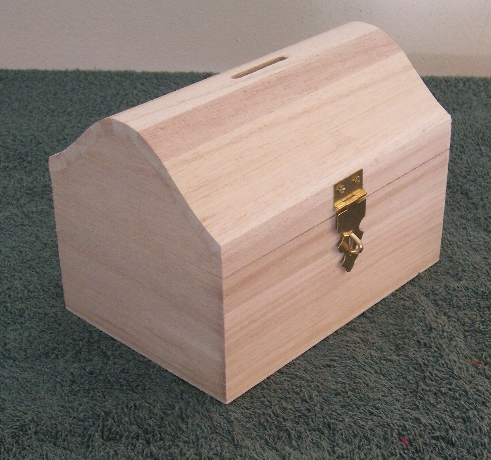 Unfinished medium wood craft treasure chest bank box or