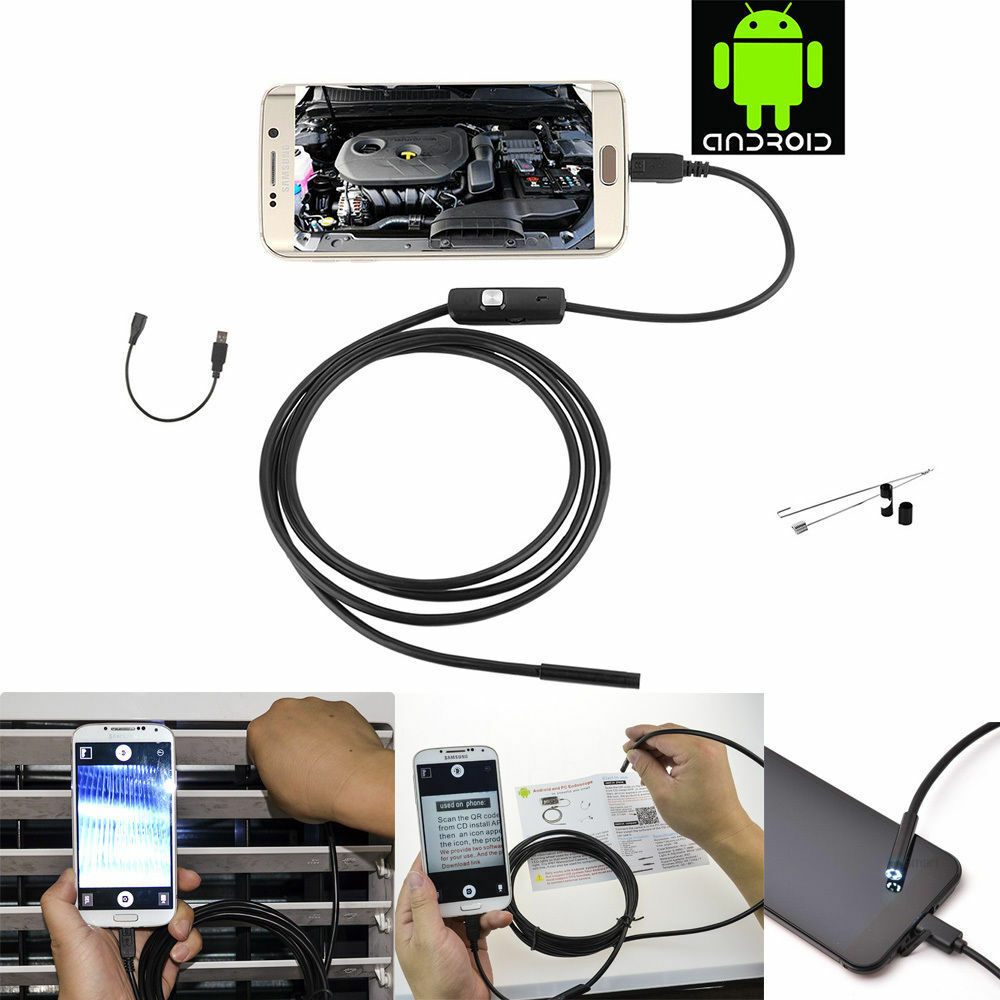 5M 7mm 6 LED Android Endoscope Waterproof OTG USB Borescope Inspection Camera