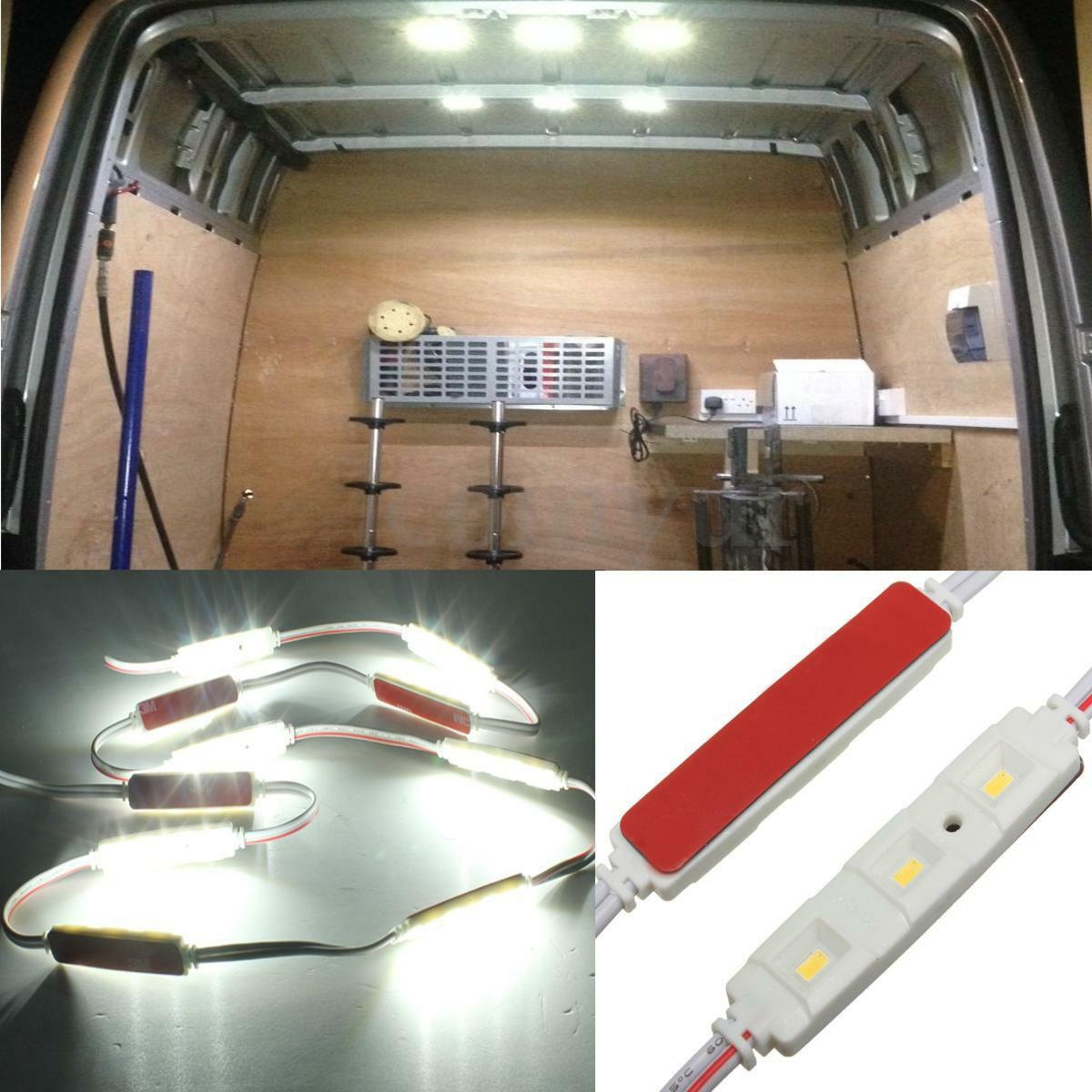 12v 30 led car interior light strip super white fit lwb van sprinter transit vw. Black Bedroom Furniture Sets. Home Design Ideas