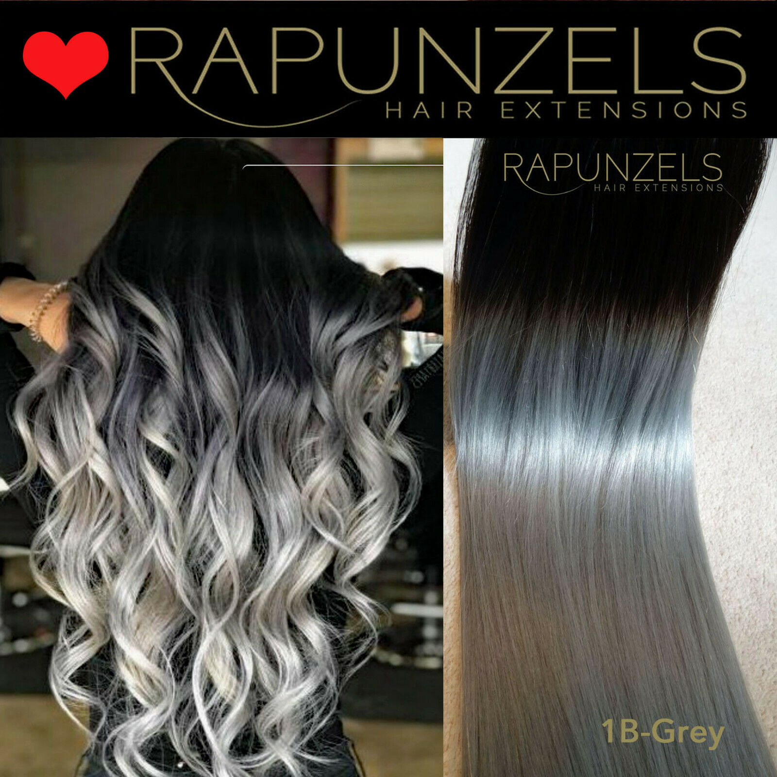 Ombre Dip Dye 20 Black To Silver Grey Human Hair Weave Weft Half