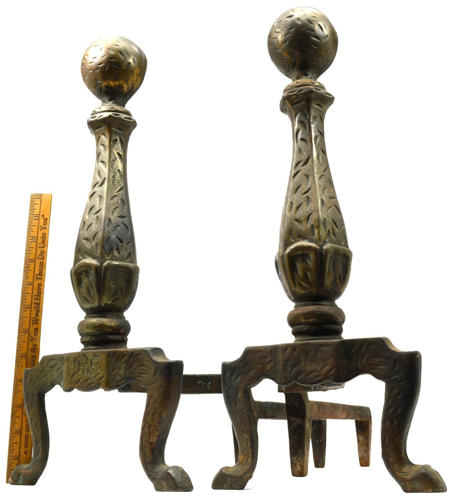 "Antique FIREPLACE ANDIRONS Large CAST IRON FIREDOGS w/ BRONZE-LOOK Marked ""200"""