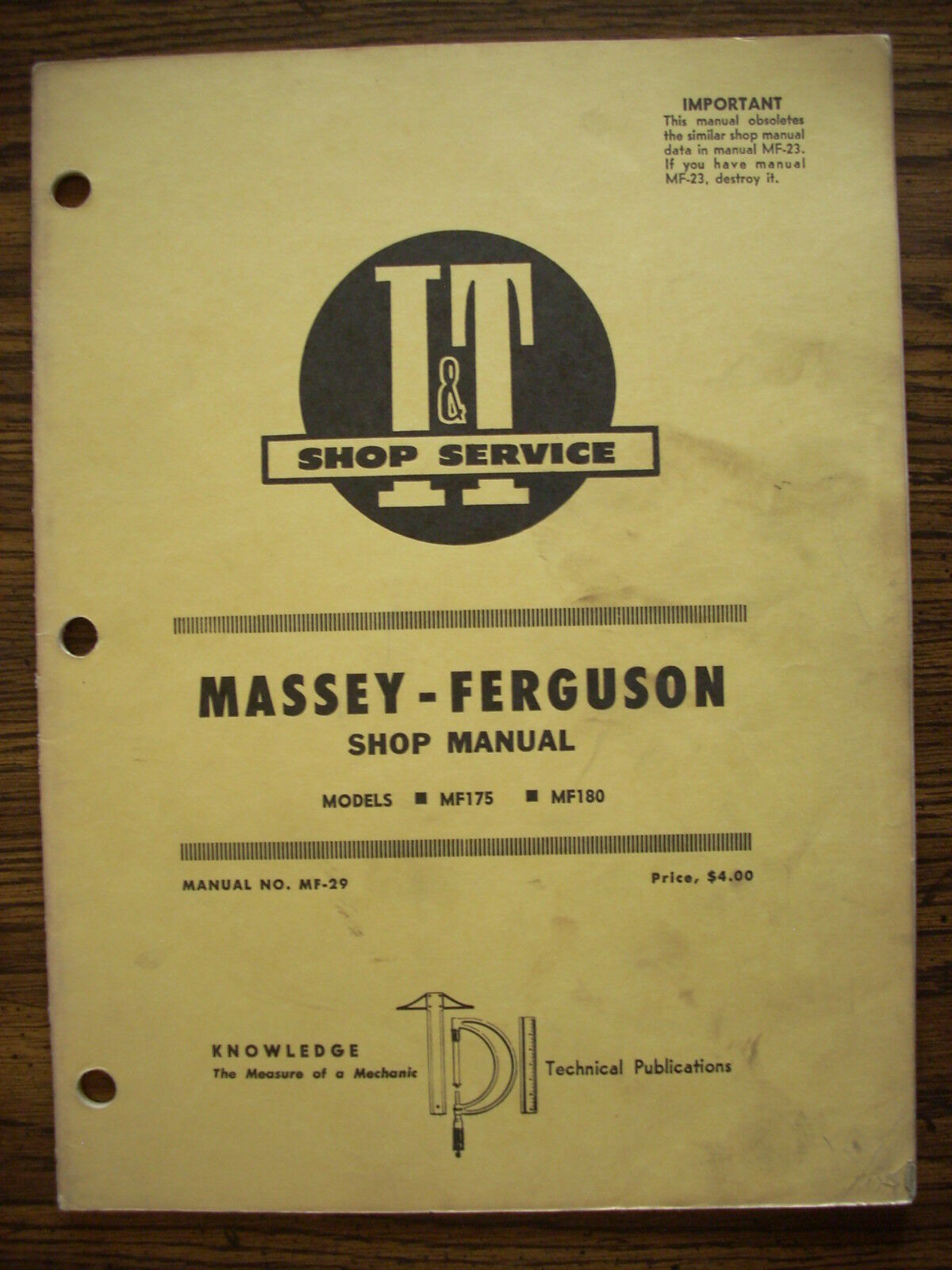 MF Massey Ferguson MF175 MF180 Service Manual 1 of 1Only 1 available ...