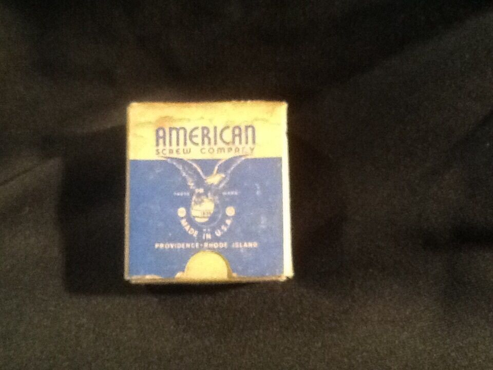 Vintage American Screw Co. Box Of Slotted 3/4 one cross flat head brass machine