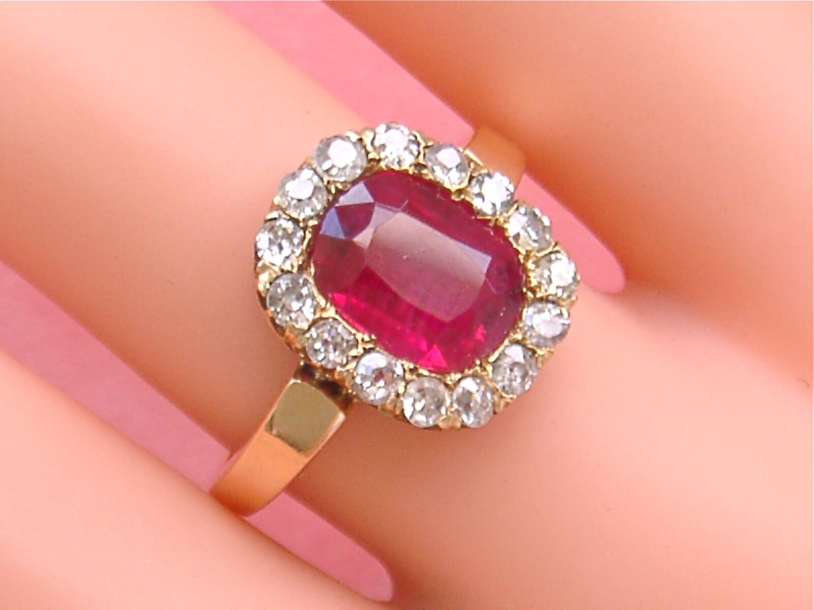 ANTIQUE VICTORIAN .80CTW DIAMOND 2.25ct RUBY PINK 18K GOLD RING ...