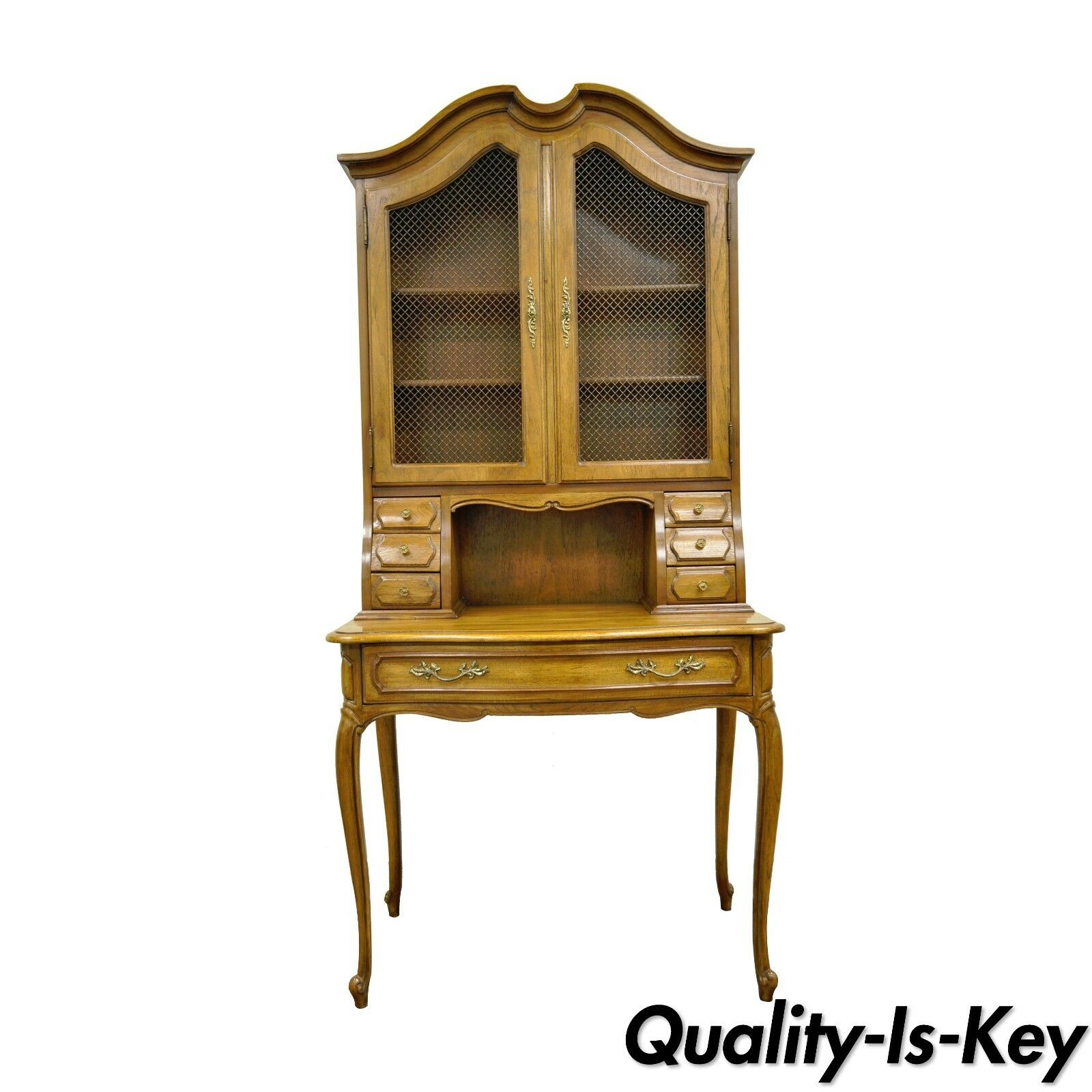 Vintage Thomasville Country French Style Louis Xv Oak Wood Secretary Desk Curio 1 Of 11