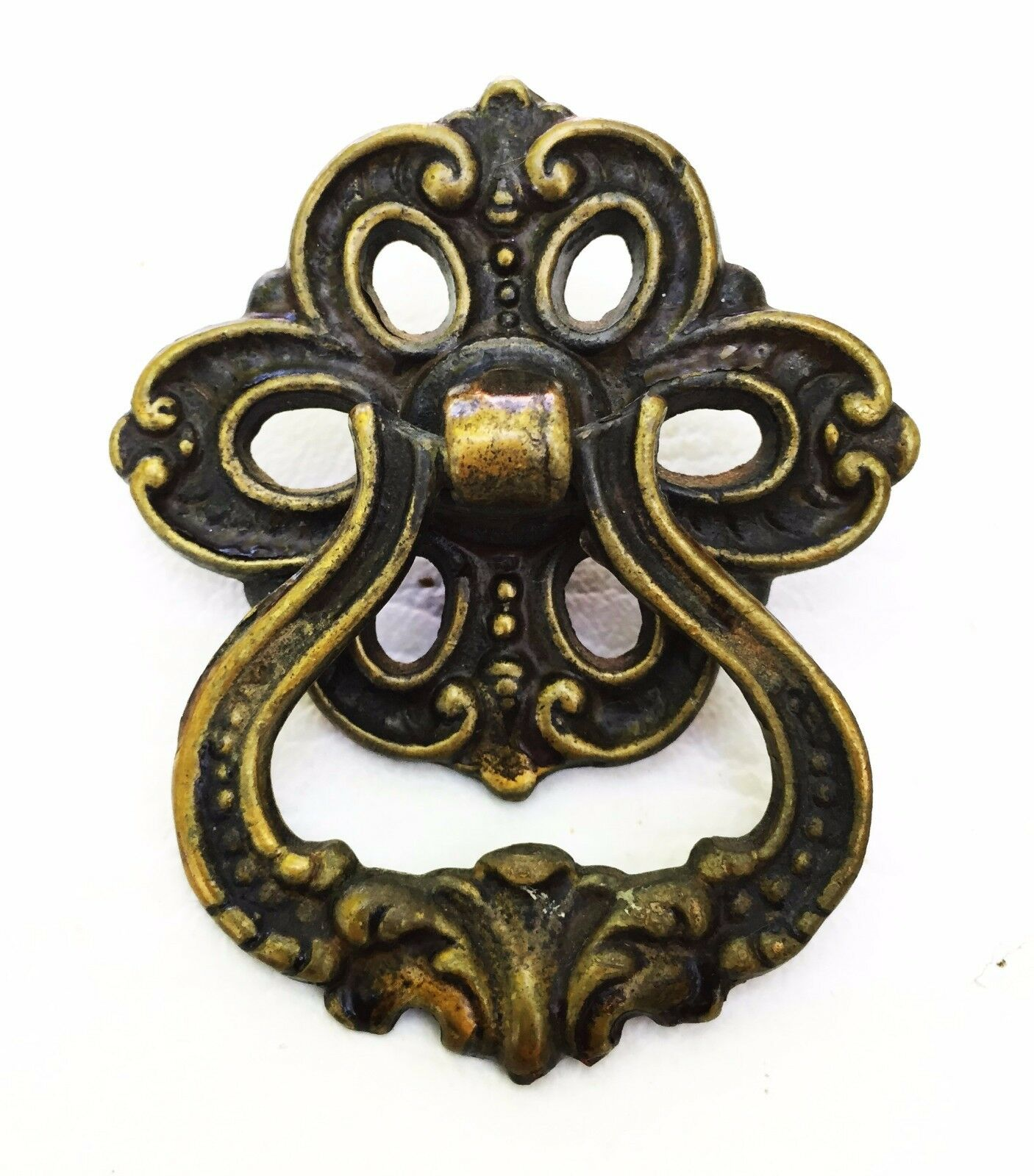 French Provincial Brass Antique Hardware Ring Drawer Pull Cabinet Knob Handle