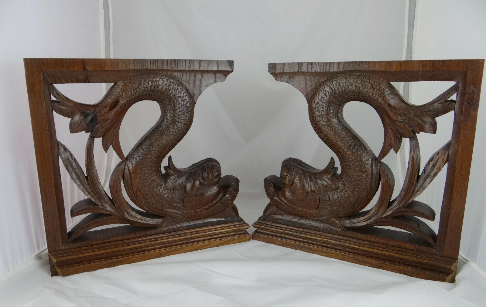 Antique French Pair of Hand Carved Wood Gargoyles Dolphin Chimera Statues