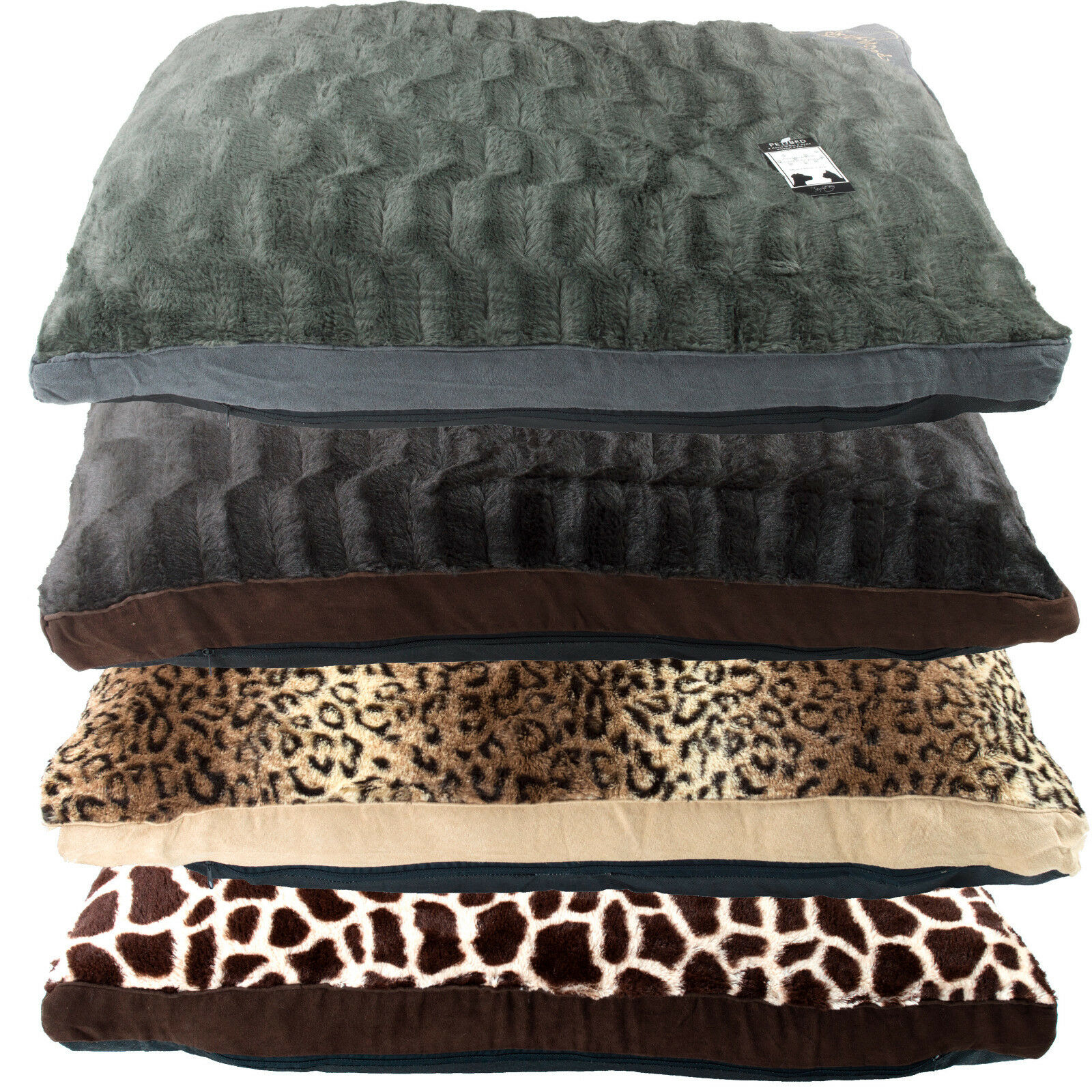 Medium or Extra Large Fur Pet Dog Bed - Washable Zipped Cover with Pillow