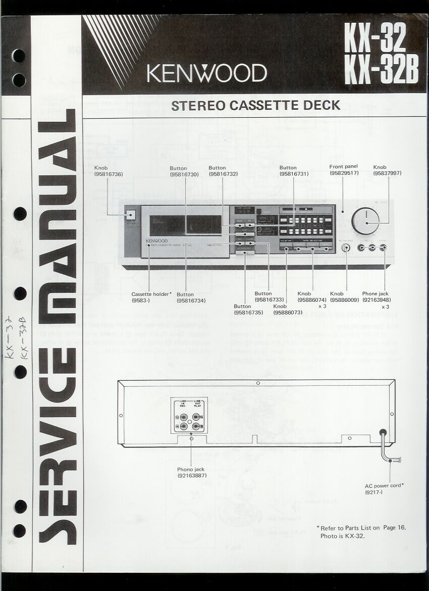 Rare Orig Factory Kenwood KX 32 32B Stereo Cassette Deck Service/Repair  Manual 1 of 1Only 1 available See More