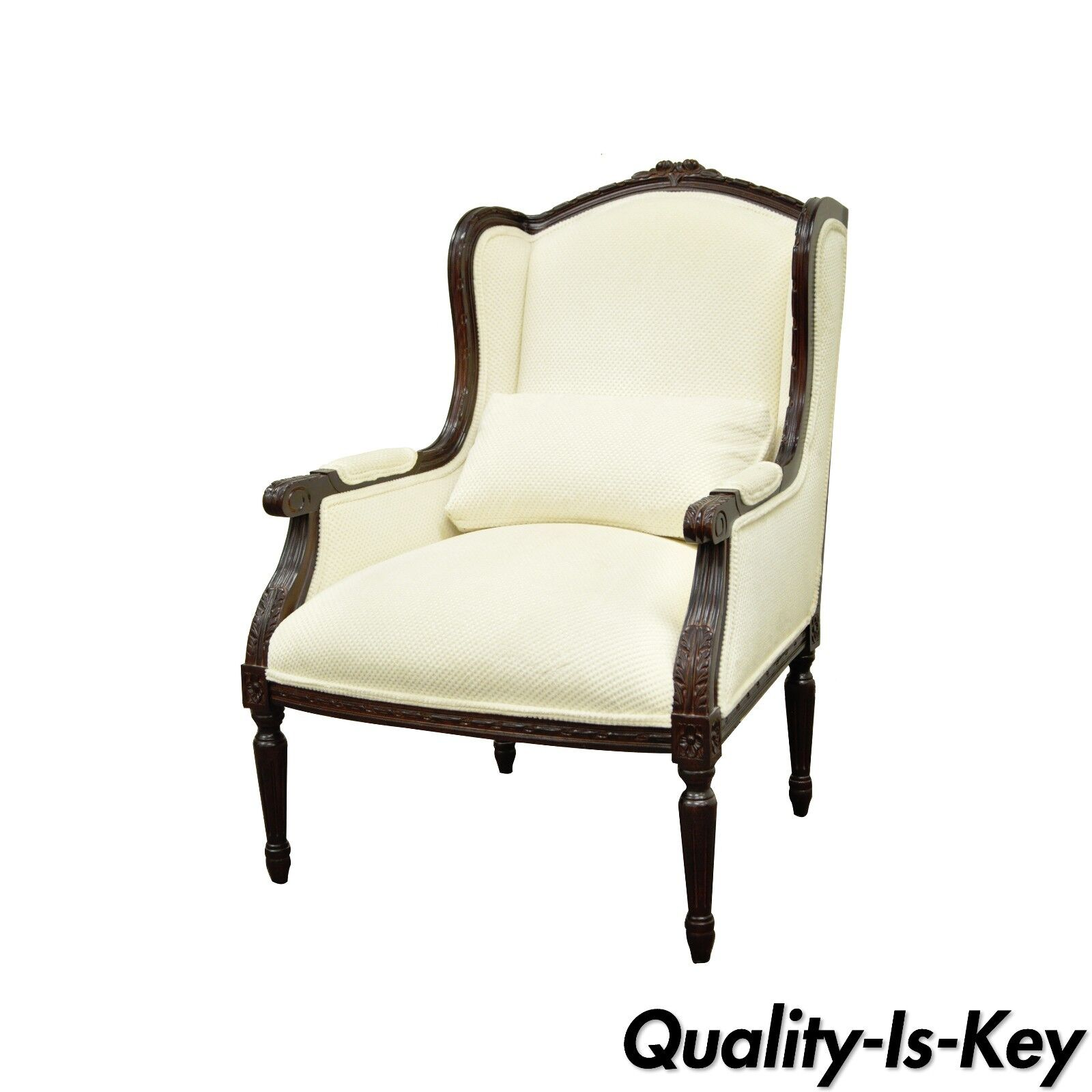 Calico Corners French Louis Xvi Style Carved Wood Upholstered Bergere Arm Chair Picclick