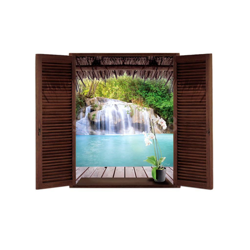 waterfall 3d window view removable wall sticker vinyl decal home