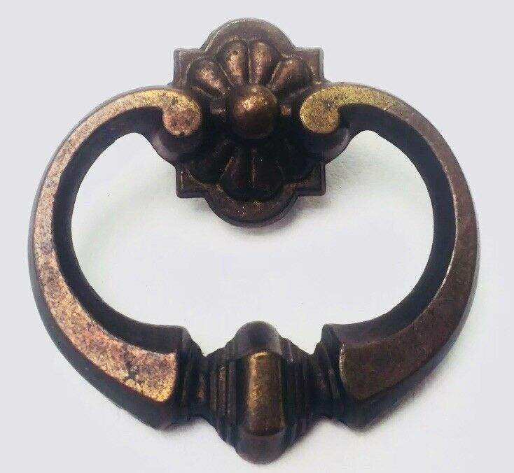 "Brass Antique Hardware Vintage MCM FRENCH PROVINCIAL Drawer Pull Knob 1"" centers"