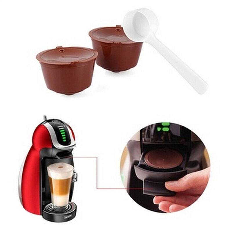 2X Refillable Reusable Coffee Capsule Pods Cup for Nescafe Dolce Gusto Machine u