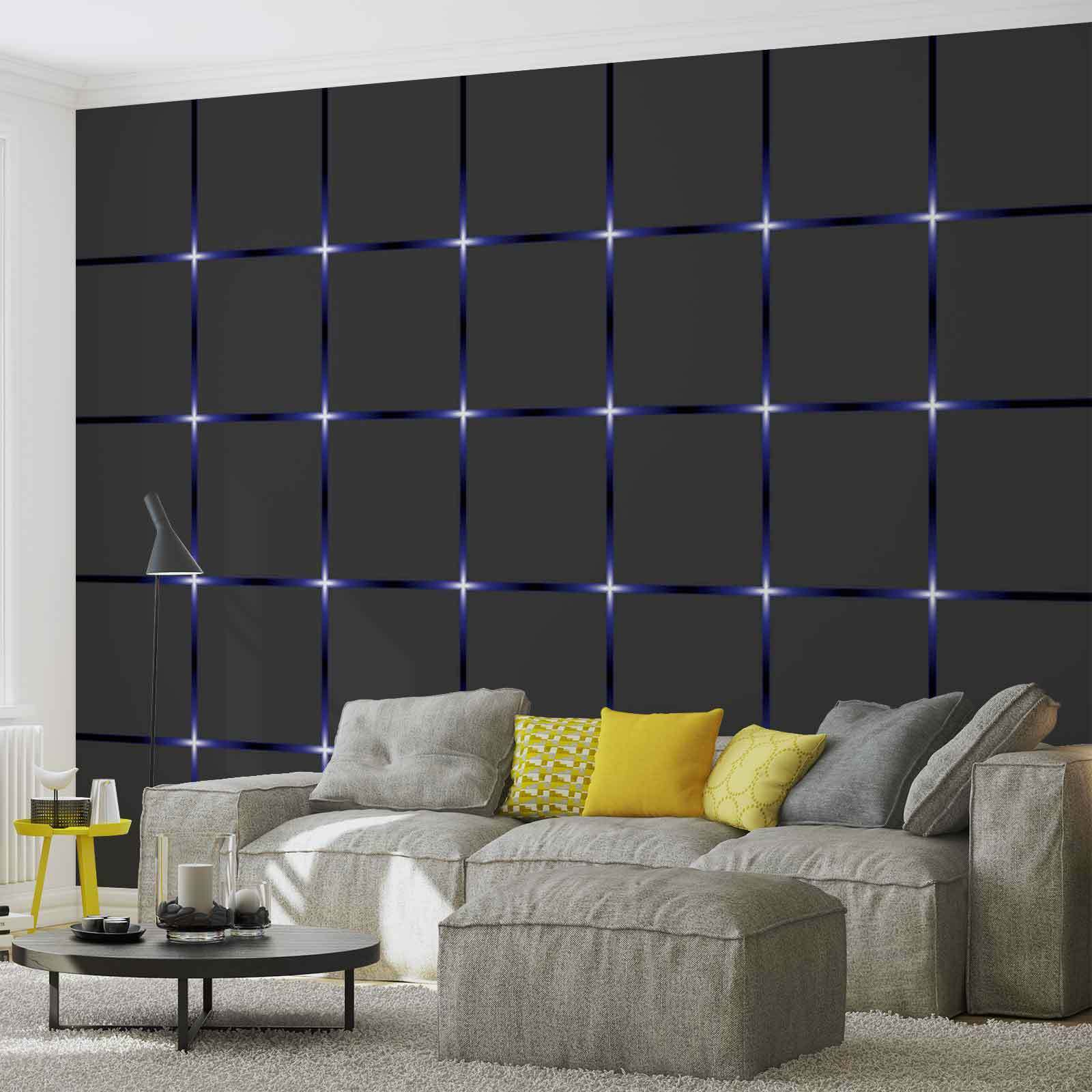 Wall mural square black blue xxl photo wallpaper 2155dc for Black wall mural