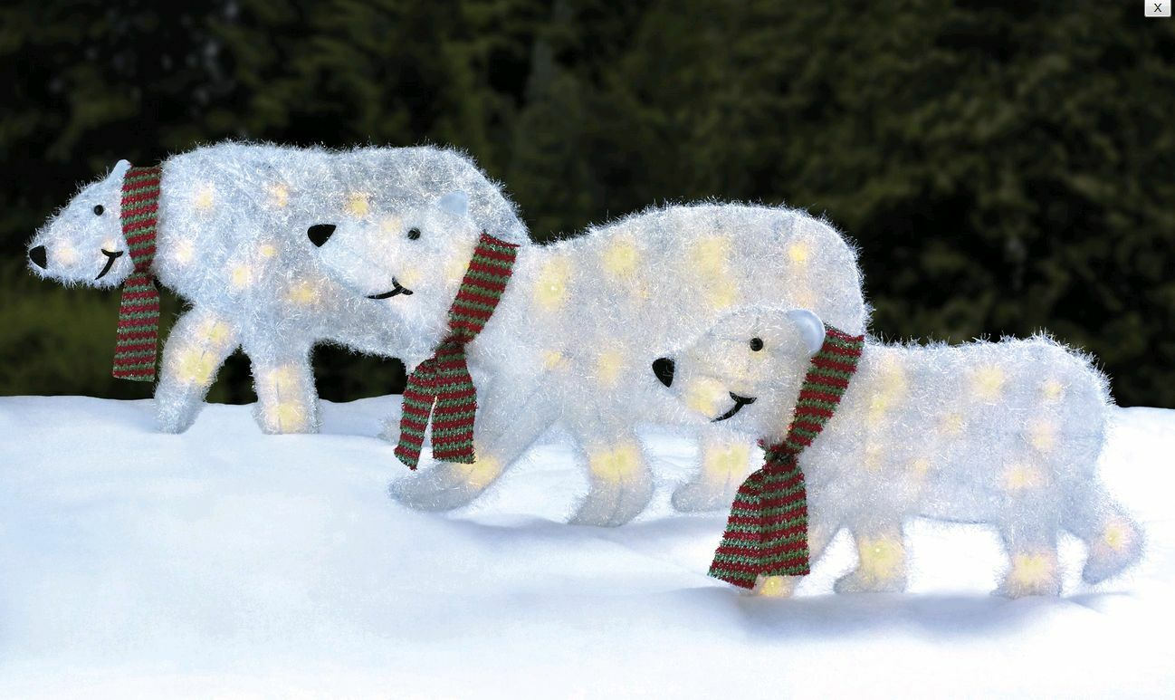 3 x outdoor tinsel white led light up polar bear christmas decoration silhouette 1 of 1 see more - Polar Bear Christmas Outdoor Decoration Led Lights