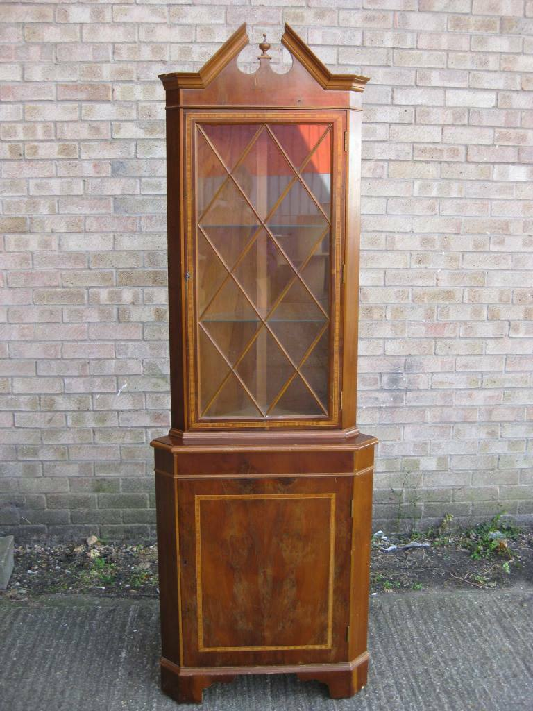 Corner Display Cabinet / Unit - Walnut Front Panels - Vintage - 195cm High