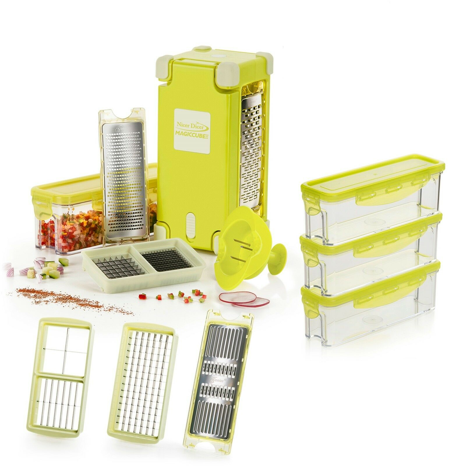 aktionspreis original genius nicer dicer magic cube gourmet xl set 19tlg neu eur 86 80. Black Bedroom Furniture Sets. Home Design Ideas