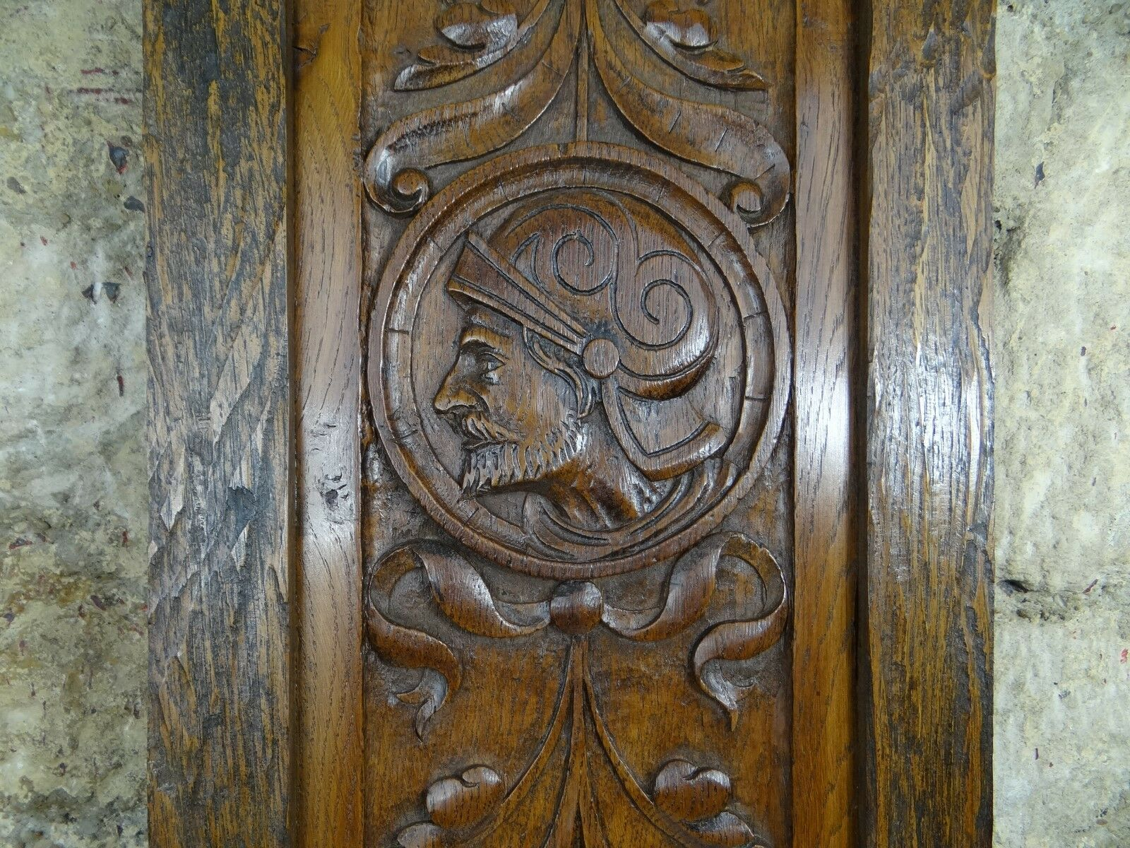 Antique French Hand Carved Oak Wood Door Panel - Knight's Face