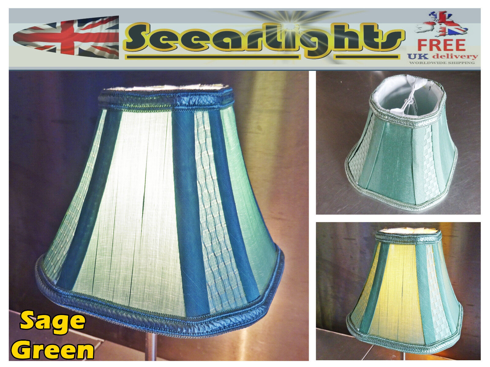 Candle Square Lampshade Clip On Bulb Chandelier Pendant Vintage Sage Green Shade