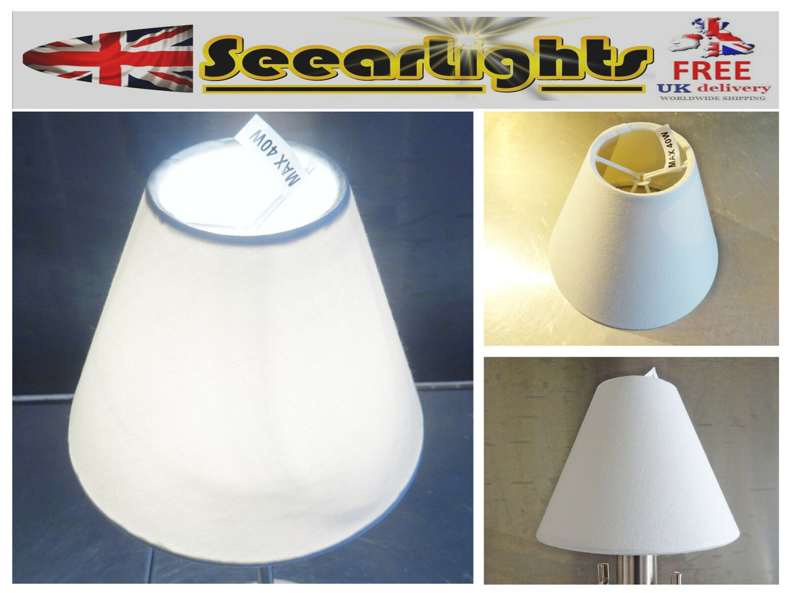 Candle Lampshade Clip-On Chandelier Wall Light Pendant Retro White Shade Chic Bn