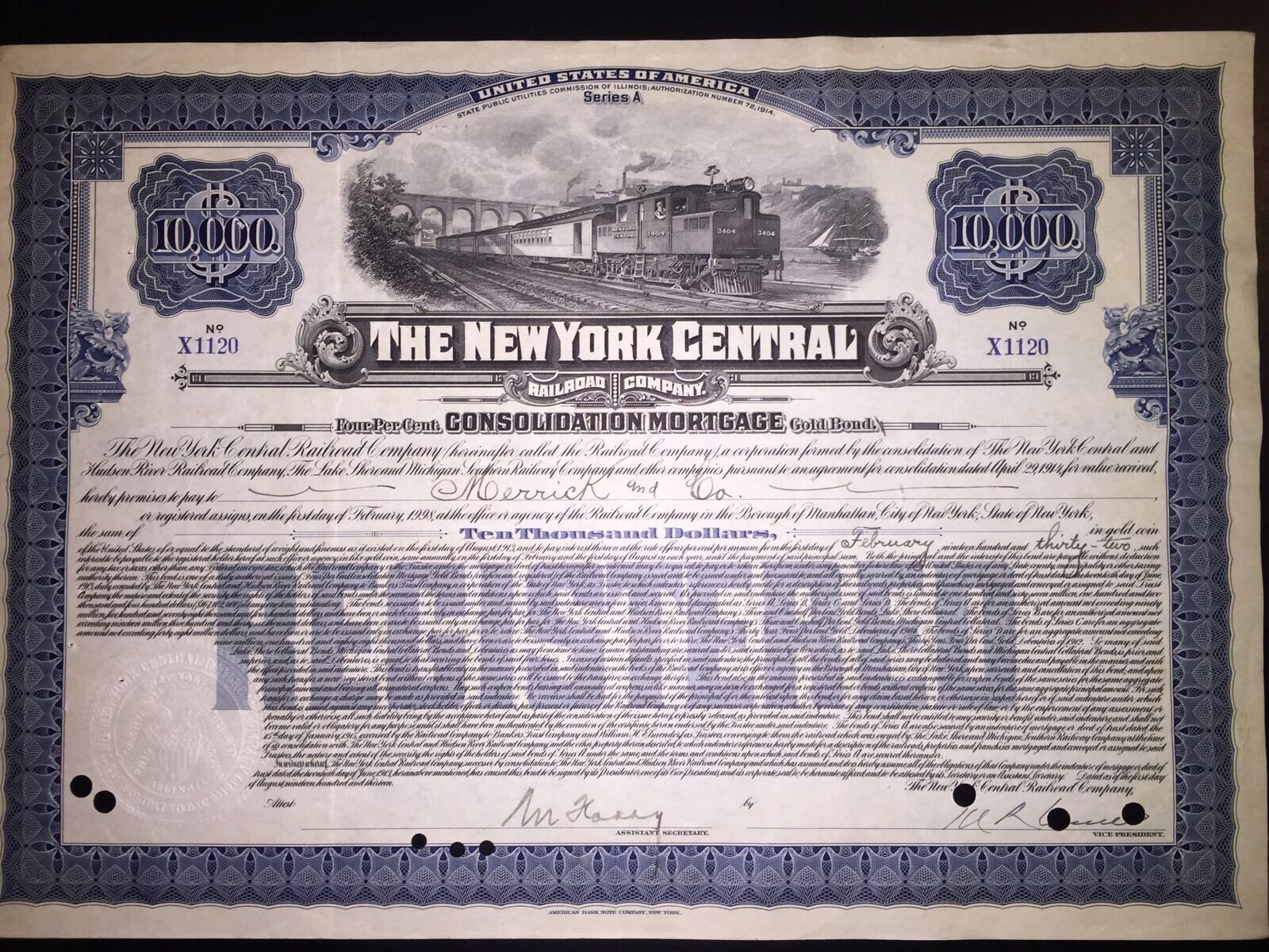 New York Central Railroad original stock gold mortgage bond certificate