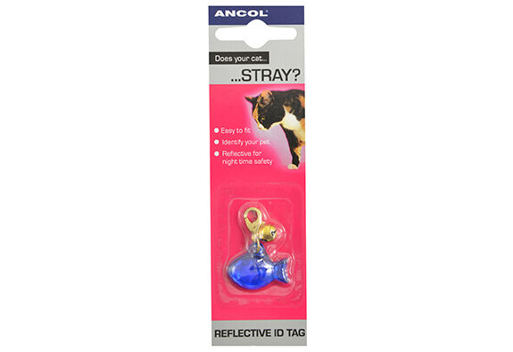 Ancol Cat Kitten Reflective ID Tag With Bell Assorted Colours & Designs