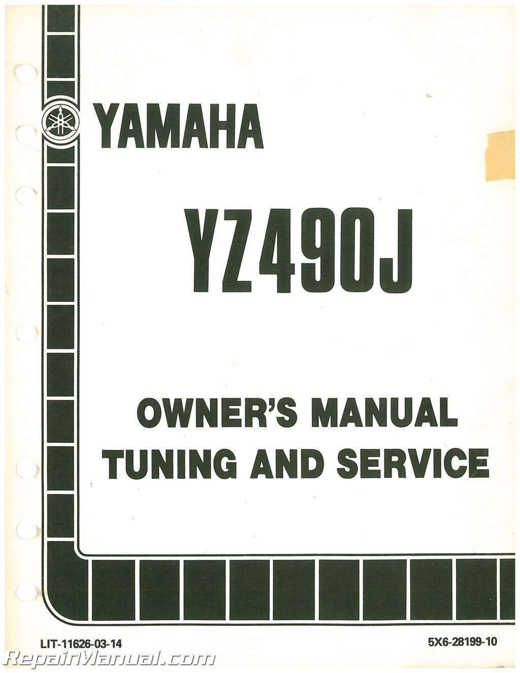 1982 Yamaha YZ490J Motorcycle Owners Service Manual 1 of 1Only 4 available  ...