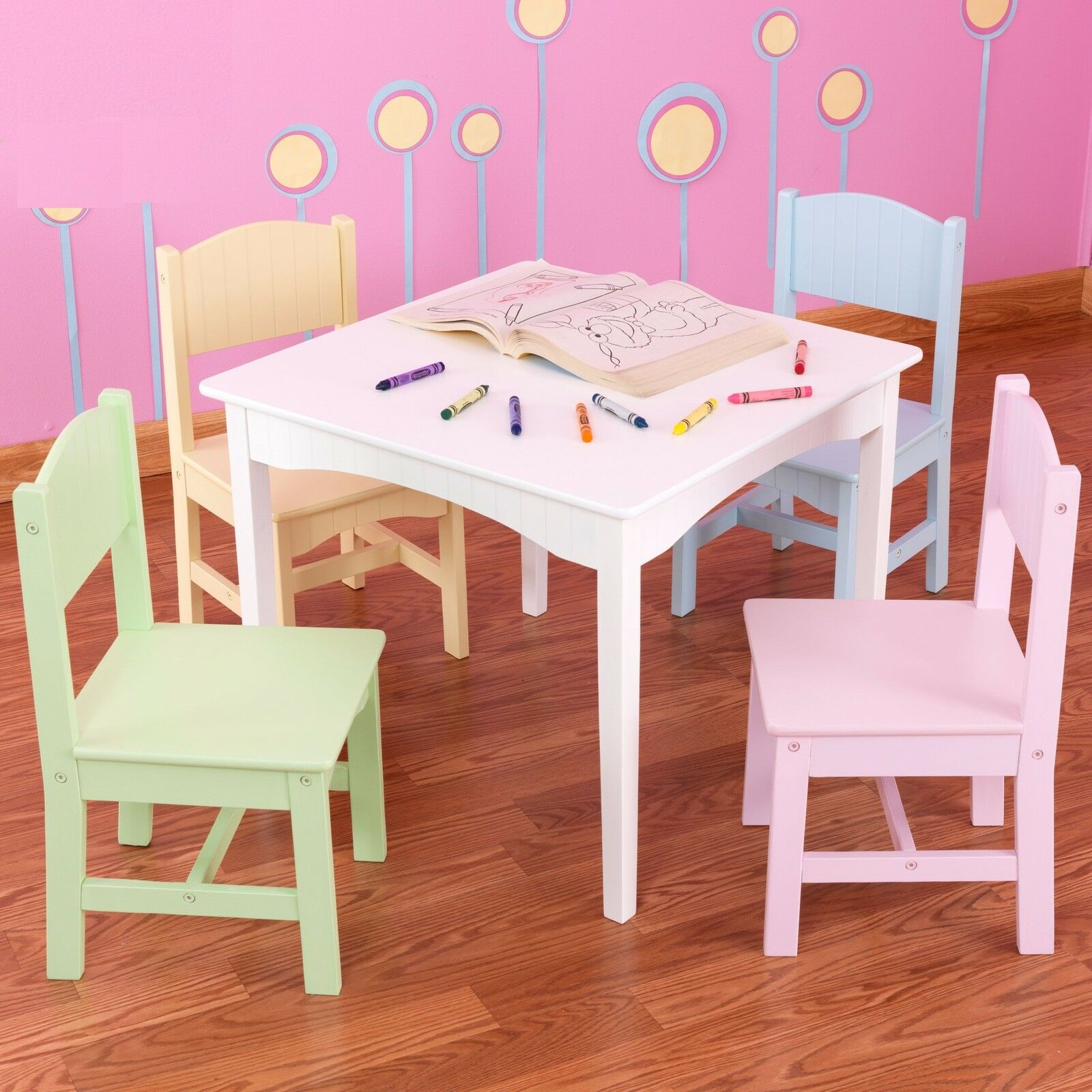 Kids tea party table - Kids Activity Table And Chairs Children Tea Party Playroom Furniture 5 Pc Wood
