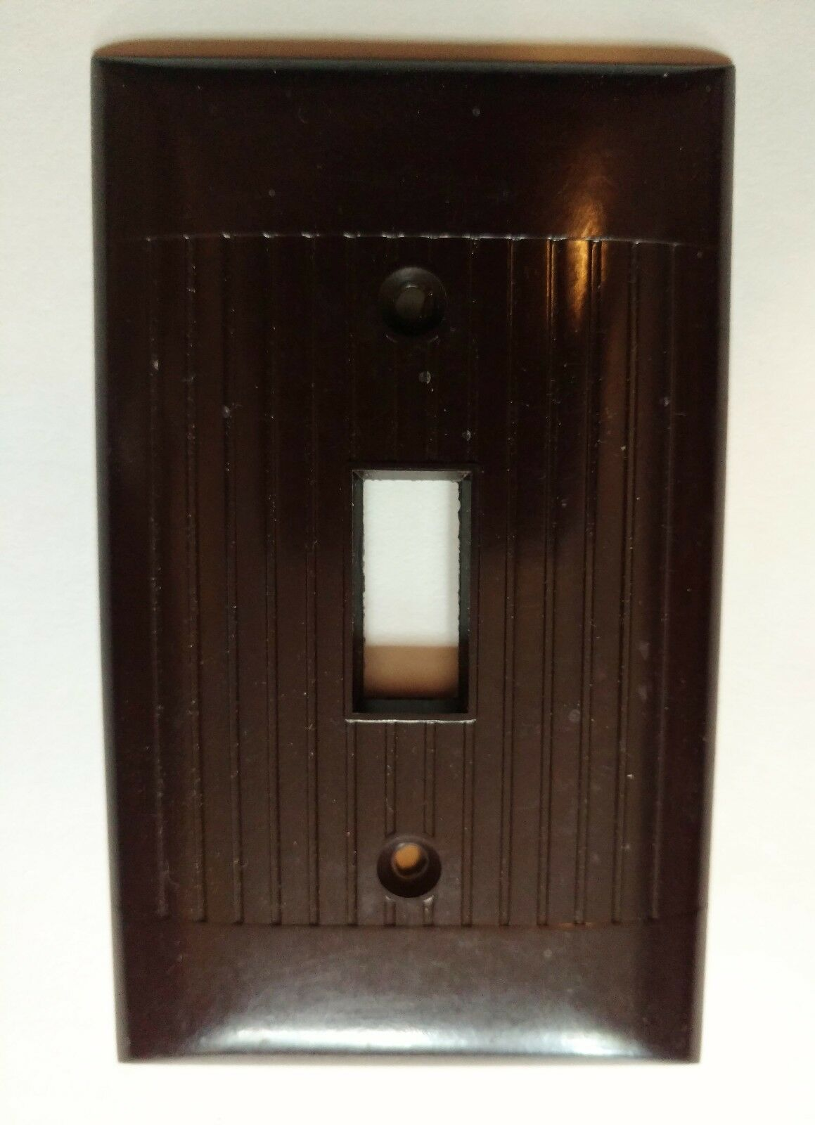 NOS Switch Plate Cover Ribbed BROWN Bakelite Single Sierra Electric Unused (30+)