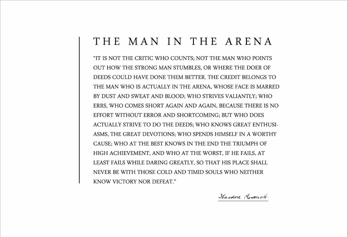 Man In The Arena Quote | Theodore Teddy Roosevelt 13x19 Poster With The Man In The Arena