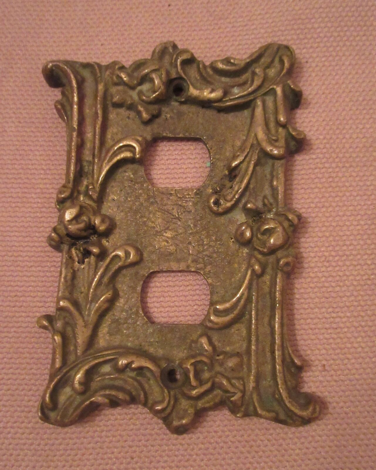 rare antique ornate thick solid brass socket plate electric outlet plug cover