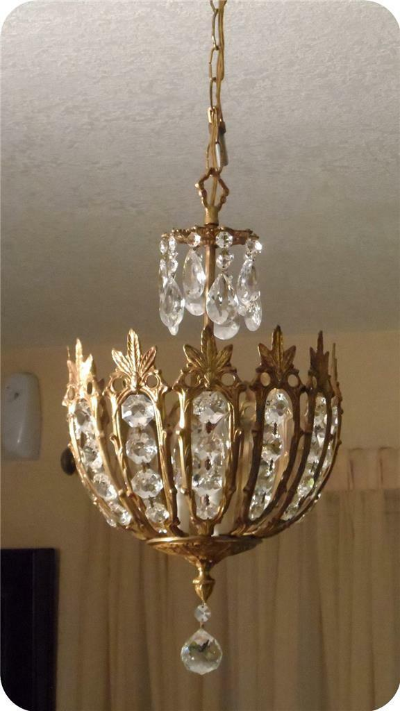 Vtg Mid Century Spain Brass Crystal Prism Basket Petite Chandelier~3 Light~