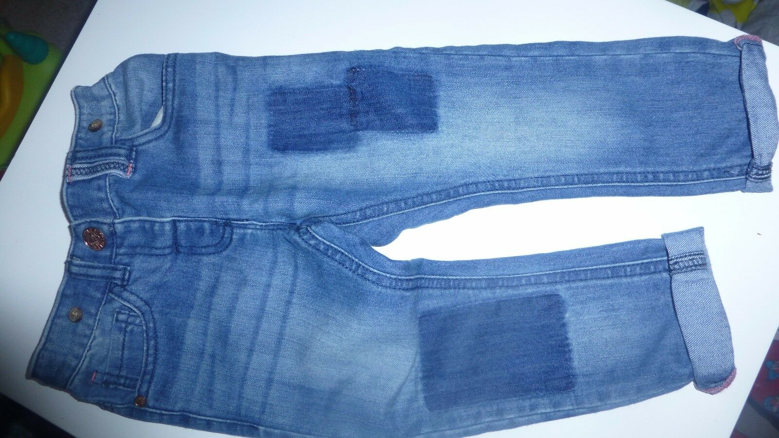 Next Girls Blue Denim Trousers 2-3 Years Adjustable Waist Patch Look Roll Up Leg