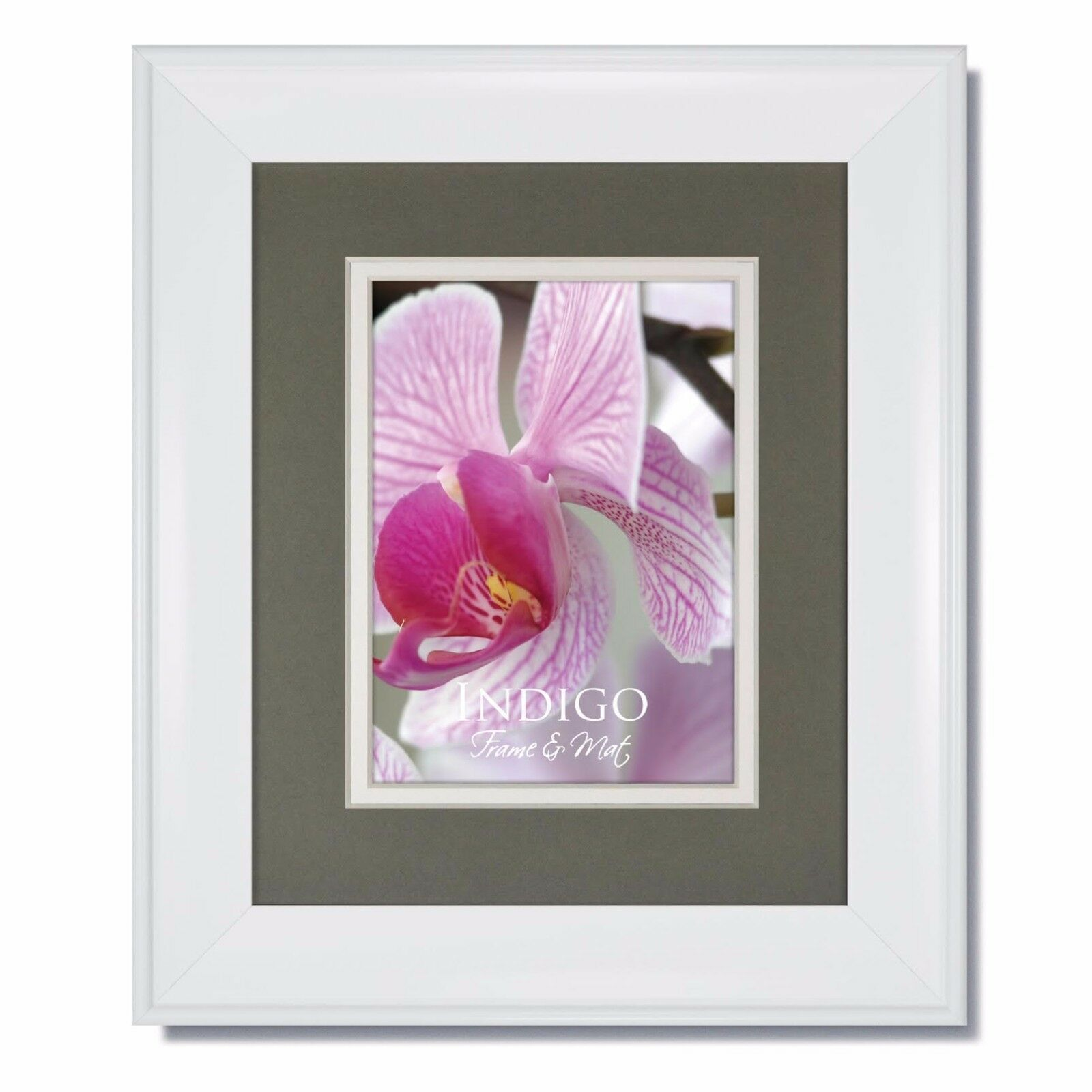 Set Of 3 8x10 Metro White Picture Frame With Slatewhite Mat