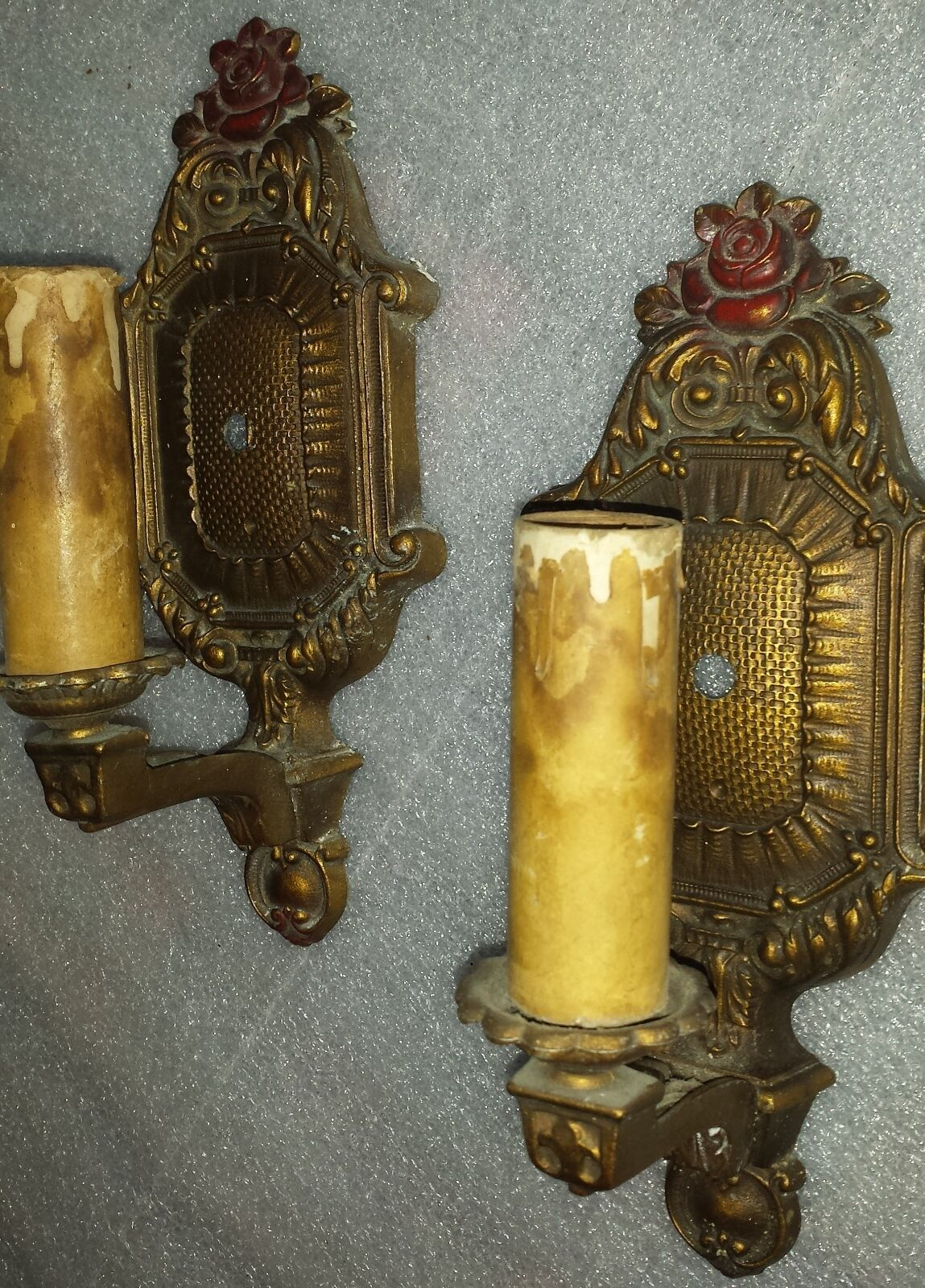 vintage matched pair Wall Sconce lights with embossed rose flower.  Early 1900's