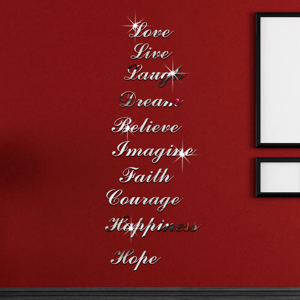 Removable letters wall stickers mirror bedroom livingroom for Small room 4 letters