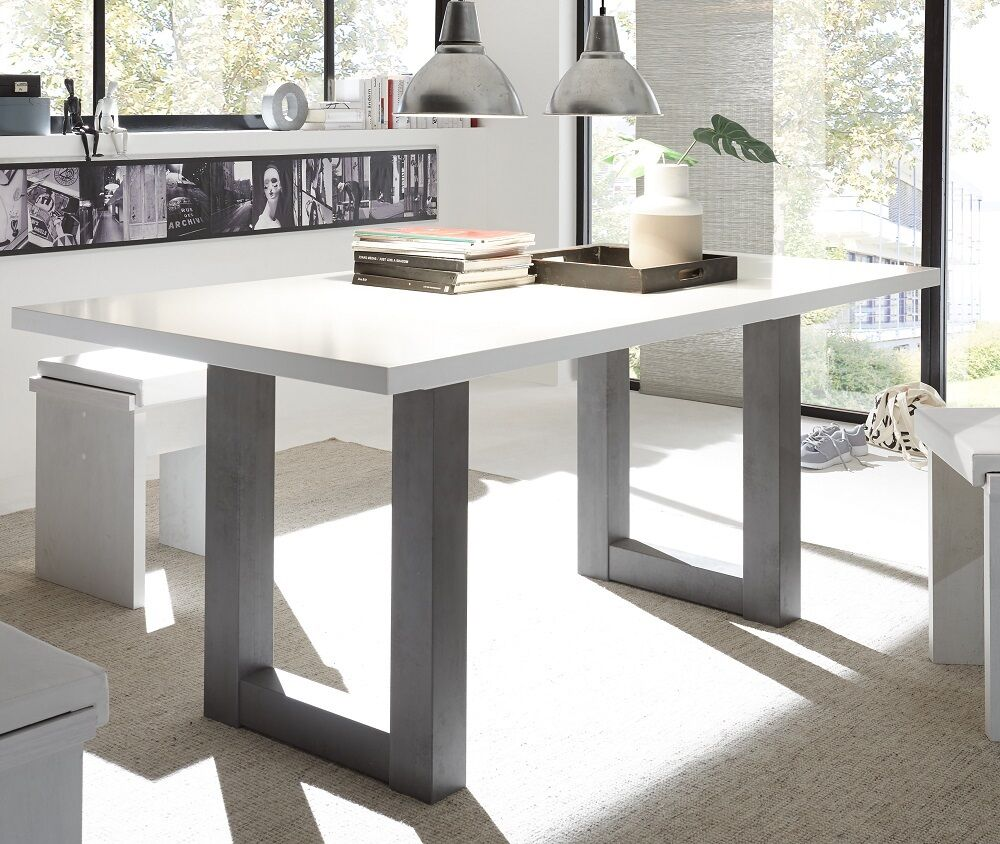 esstisch esszimmertisch speisetisch u form gestell 180x90 cm graphit weiss neu eur 199 00. Black Bedroom Furniture Sets. Home Design Ideas