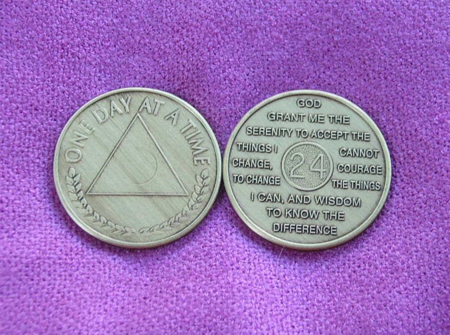 One Day At A Time Al Anon Symbol Serenity Prayer 24 Hours Bronze