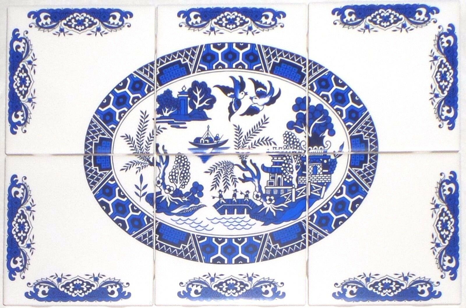 Blue Willow Ceramic Tile Mural 6pcs 425 X 425 Kiln Fired