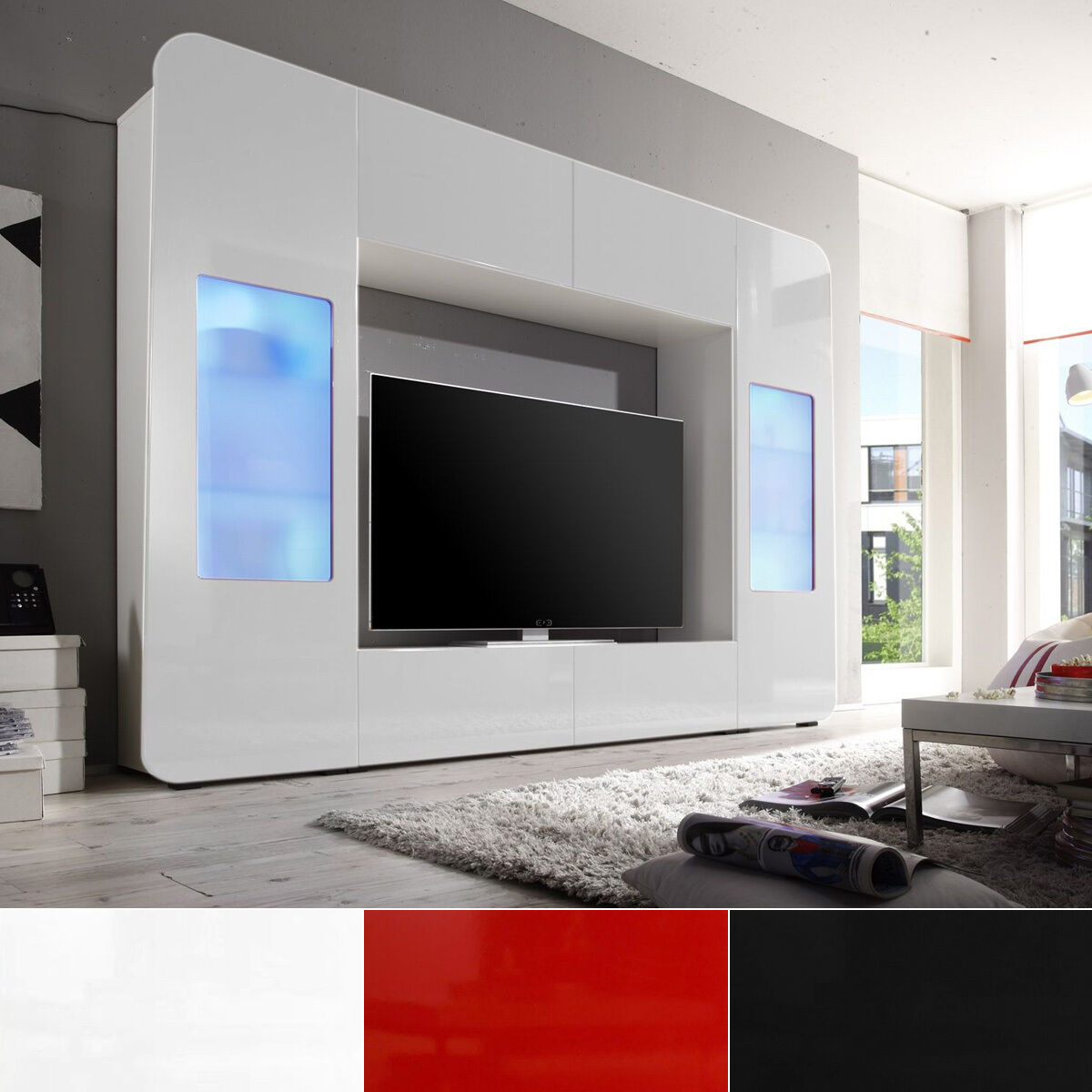 mediawand kino wohnwand anbauwand mit led in hochglanz wei rot oder schwarz eur 339 95. Black Bedroom Furniture Sets. Home Design Ideas