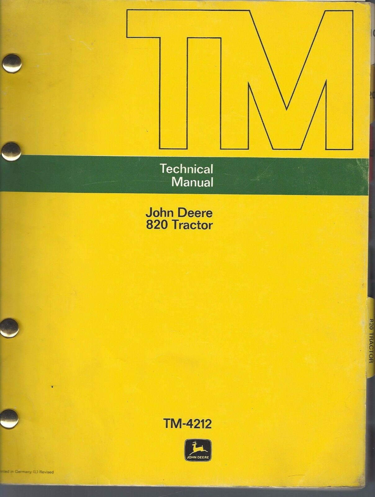 JOHN DEERE TECHNICAL MANUAL 820 TRACTOR 3CYL TM-4212 SERVICE REPAIR F3a 1  of 11Only 1 available ...