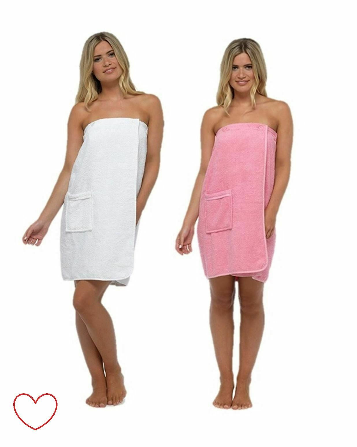 LADIES WOMENS TOWELLING Gown Robe Wrap Spa Bath Shower Cotton ...