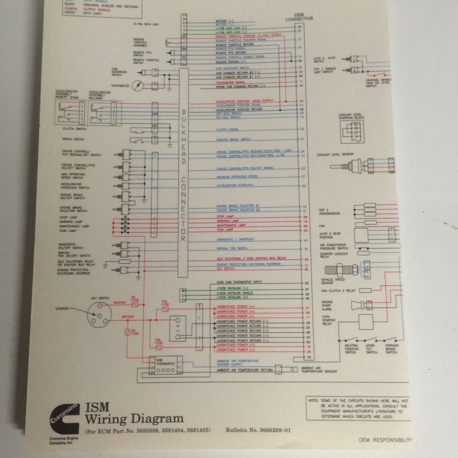 Cummins Ism Wire Diagram 3666269 1095 Picclick Mf 65 Electrical Wiring 1 Of 1free Shipping
